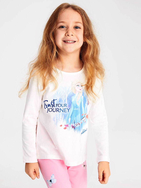 Ekru Kız Çocuk Elsa Baskılı Pamuklu Tişört 9WJ718Z4 LC Waikiki