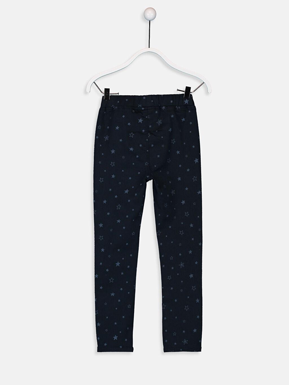 %65 Pamuk %31 Polyester %4 Elastan Gabardin Baskılı Normal Bel Dar Pantolon Kız Çocuk Slim Pantolon