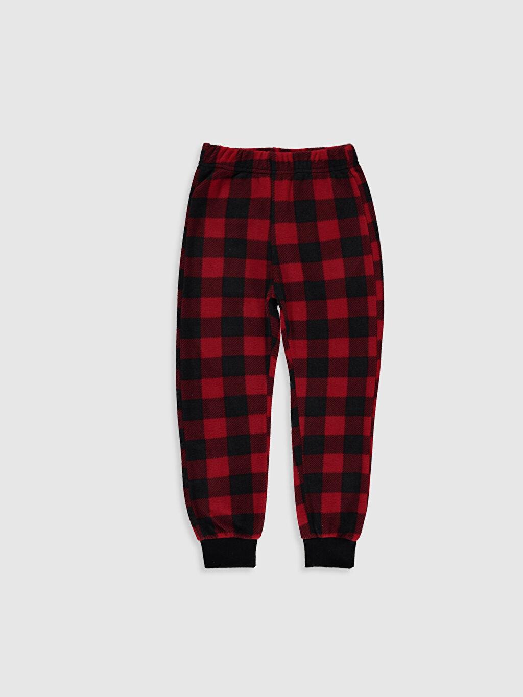 %100 Polyester Standart Pijama Alt Uzun Casual Polar Erkek Çocuk Ekose Polar Pijama Alt