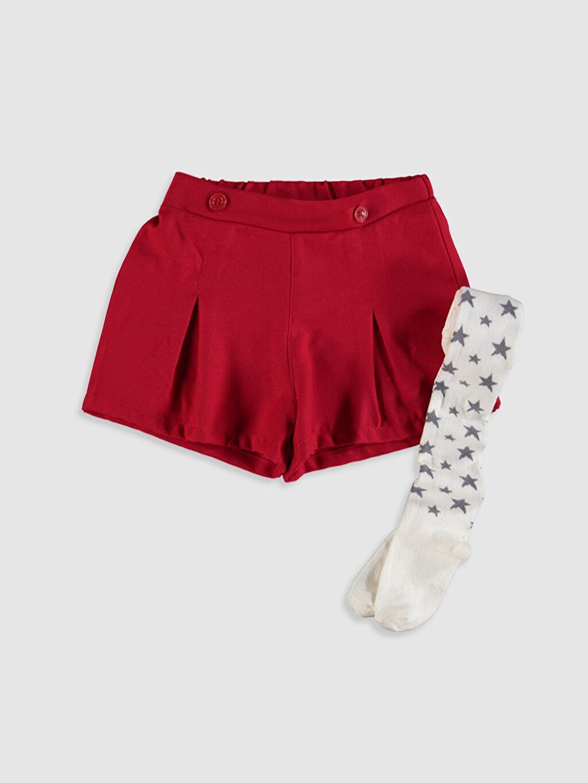 Kırmızı Kız Çocuk Şort ve Külotlu Çorap 9WK557Z4 LC Waikiki