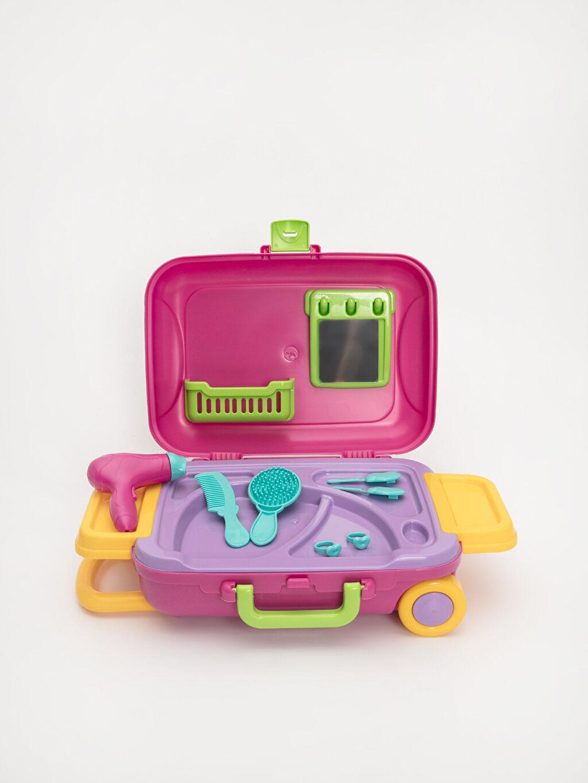 Plastik Kız Çocuk Valizli Oyuncak Güzellik Seti