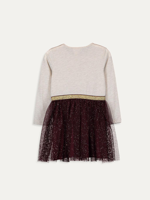 %61 Pamuk %39 Polyester %100 Pamuk Elbise Bebe Yaka Baskılı Penye Diz Üstü Kız Çocuk Pul İşlemeli Uzun Kollu Elbise