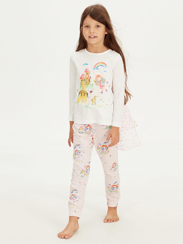 %100 Pamuk %100 Pamuk Penye Standart Pijama Takım Kız Çocuk Baskılı Pamuklu Pijama Takımı