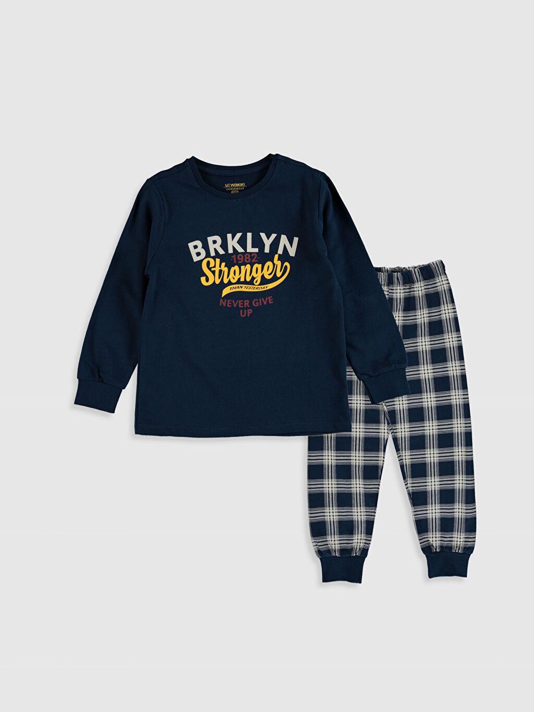 Lacivert Erkek Çocuk Baskılı Pamuklu Pijama Takımı 9WL600Z4 LC Waikiki