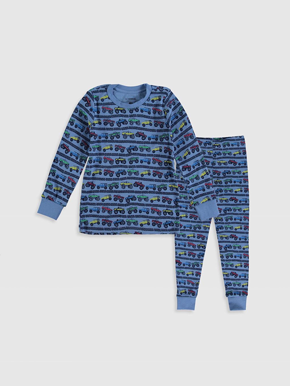 Lacivert Erkek Çocuk Baskılı Pamuklu Pijama Takımı 9WL699Z4 LC Waikiki