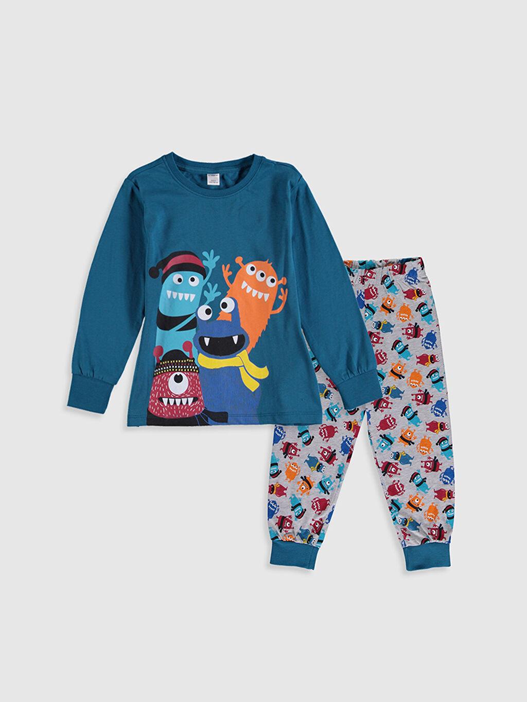 Mavi Erkek Çocuk Baskılı Pamuklu Pijama Takımı 9WL741Z4 LC Waikiki