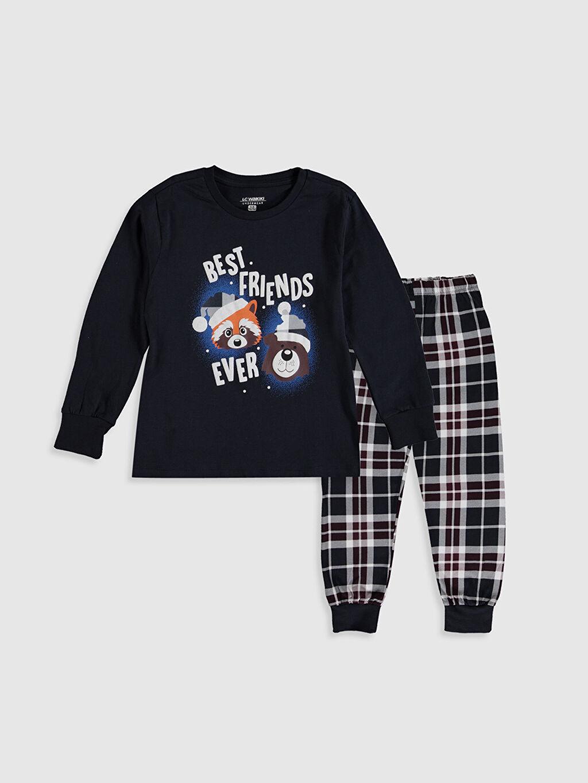 Lacivert Erkek Çocuk Baskılı Pamuklu Pijama Takımı 9WL863Z4 LC Waikiki