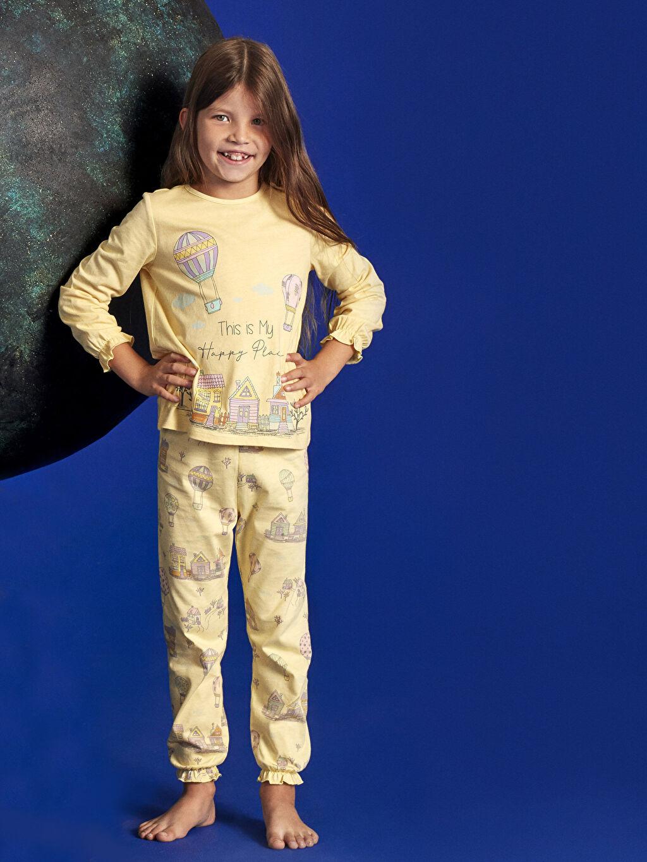 %100 Pamuk %100 Pamuk Süprem Standart Pijama Takım Kız Çocuk Baskılı Pamuklu Pijama Takımı