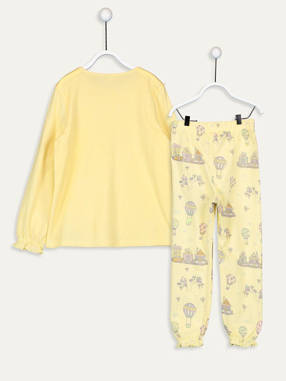 LC Waikiki Sarı Kız Çocuk Baskılı Pamuklu Pijama Takımı