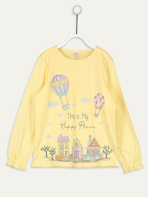 Sarı Kız Çocuk Baskılı Pamuklu Pijama Takımı