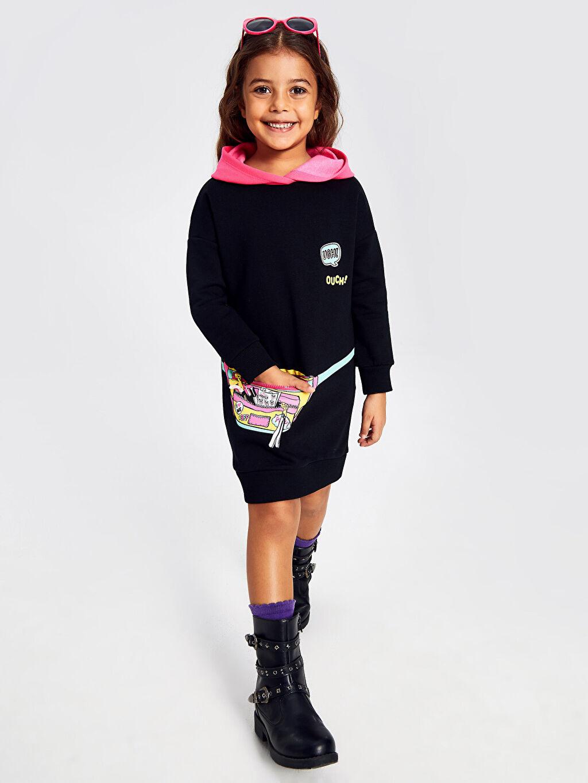 Siyah Kız Çocuk Baskılı Sweatshirt Elbise 9WM565Z4 LC Waikiki