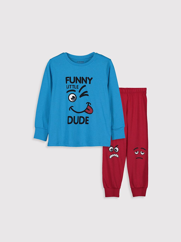 Turkuaz Erkek Çocuk Baskılı Pamuklu Pijama Takımı 9WM600Z4 LC Waikiki