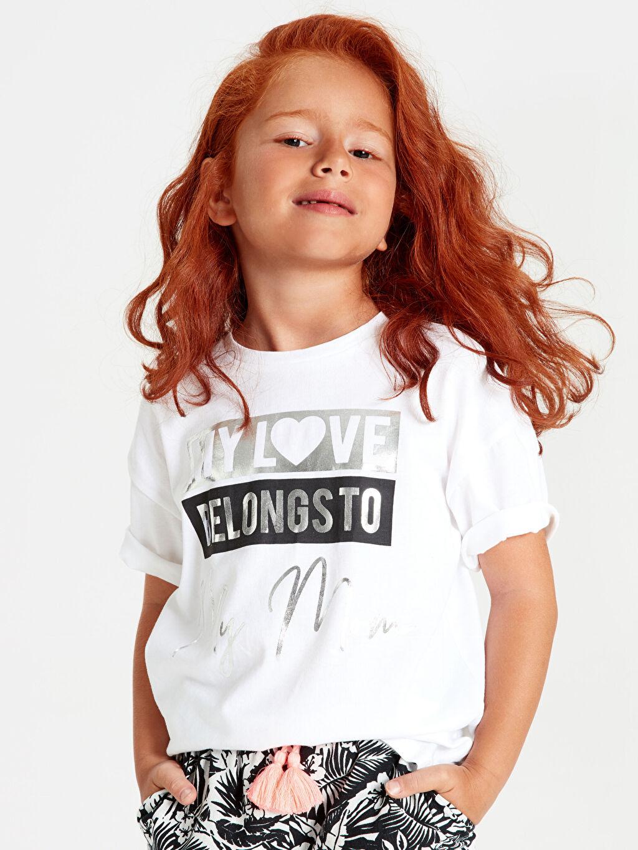 Beyaz Kız Çocuk Pamuklu Baskılı Tişört 9WM685Z4 LC Waikiki