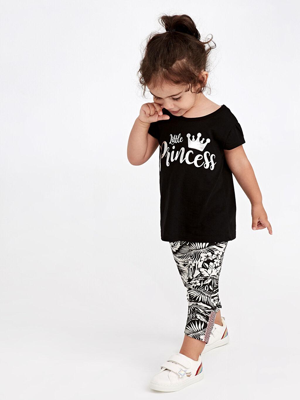 Siyah Kız Bebek Yazı Baskılı Pamuklu Tişört 9WM686Z4 LC Waikiki