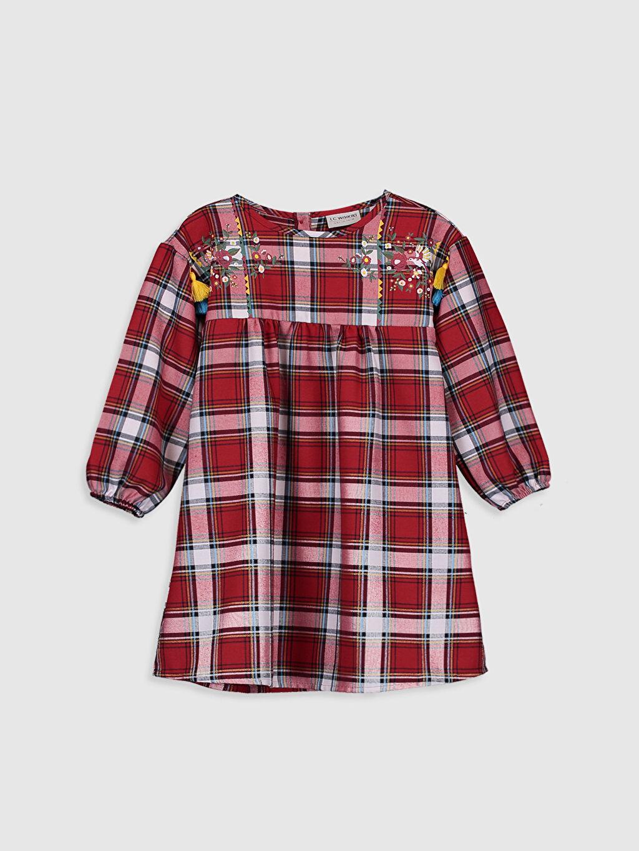 Kırmızı Kız Çocuk Flanel Ekose Elbise 9WM970Z4 LC Waikiki