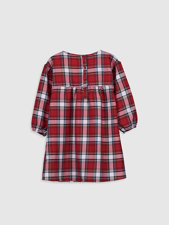 %67 Polyester %33 Viskon Flanel Elbise Ekose Diz Üstü Uzun Kol Kız Çocuk Flanel Ekose Elbise