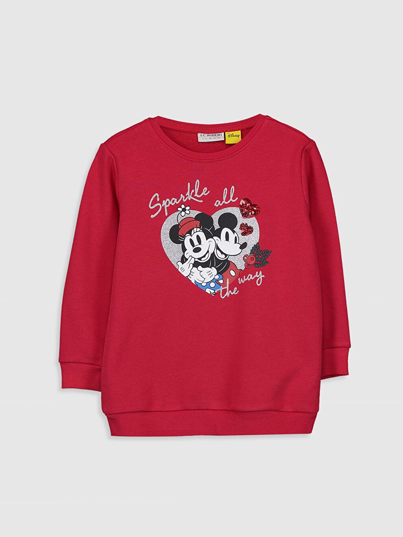 Kırmızı Kız Çocuk Minnie Mickey Mouse Baskılı Sweatshirt 9WM982Z4 LC Waikiki