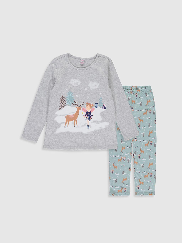 Gri Kız Çocuk Baskılı Uzun Kollu Pijama Takımı 9WN048Z4 LC Waikiki