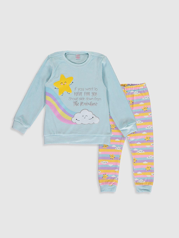 Mavi Kız Çocuk Baskılı Kadife Pijama Takımı 9WN053Z4 LC Waikiki
