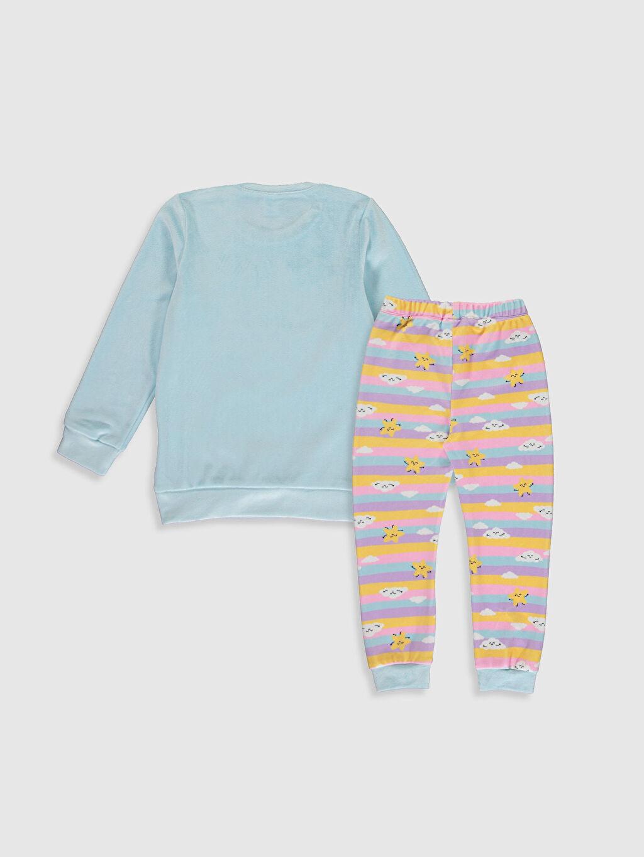 %93 Polyester %7 Elastan Kadife Standart Pijama Takım Kız Çocuk Baskılı Kadife Pijama Takımı