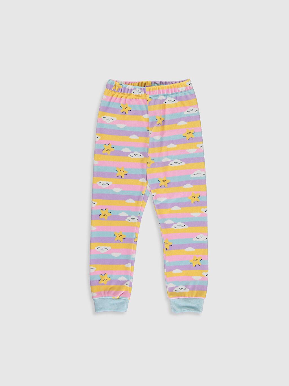 %93 Polyester %7 Elastan Kız Çocuk Baskılı Kadife Pijama Takımı