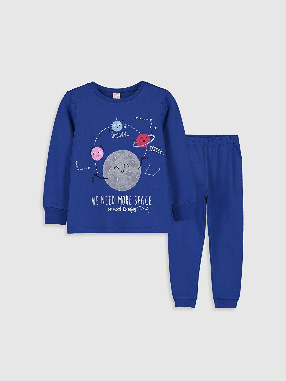 Mavi Kız Çocuk Baskılı Pamuklu Pijama Takımı 9WN070Z4 LC Waikiki