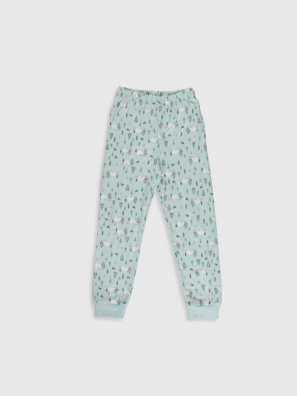 %100 Pamuk Kız Çocuk Desenli Pamuklu Pijama Takımı