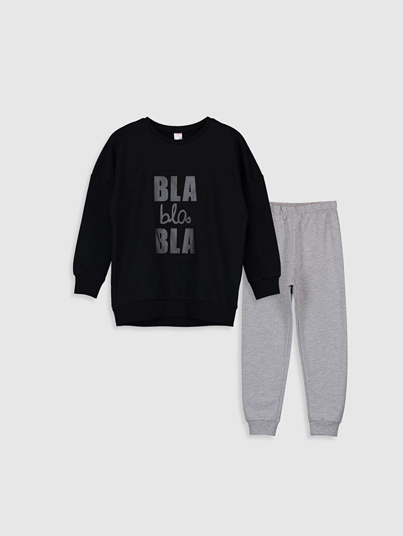 Siyah Kız Çocuk Yazı Baskılı Pamuklu Pijama Takımı 9WN085Z4 LC Waikiki