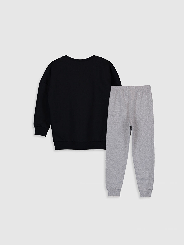 %57 Pamuk %43 Polyester %100 Pamuk İnce Sweatshirt Kumaşı Standart Pijama Takım Kız Çocuk Yazı Baskılı Pamuklu Pijama Takımı