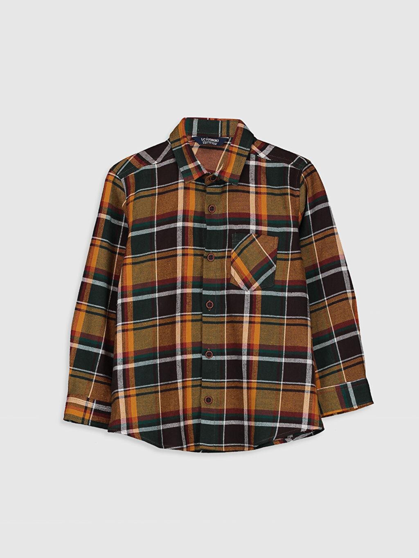 %100 Pamuk %100 Pamuk Aksesuarsız Gömlek Ekose Standart Uzun Kol Gabardin Erkek Çocuk Pamuklu Ekose Gömlek