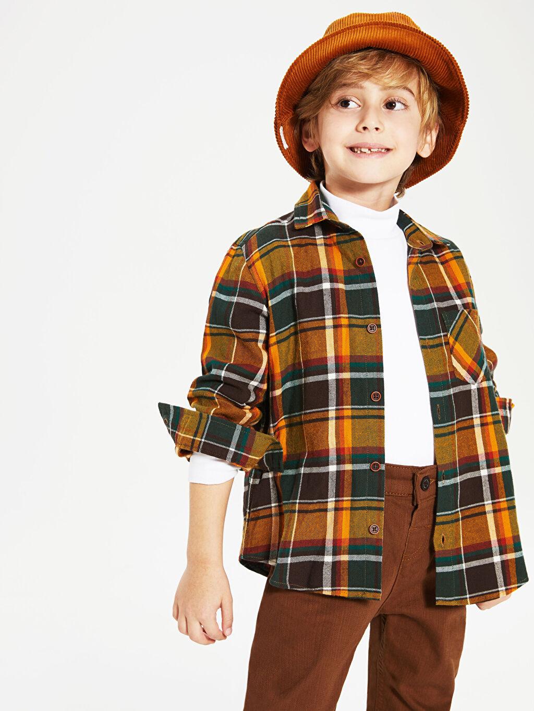 Kahverengi Erkek Çocuk Pamuklu Ekose Gömlek 9WN381Z4 LC Waikiki