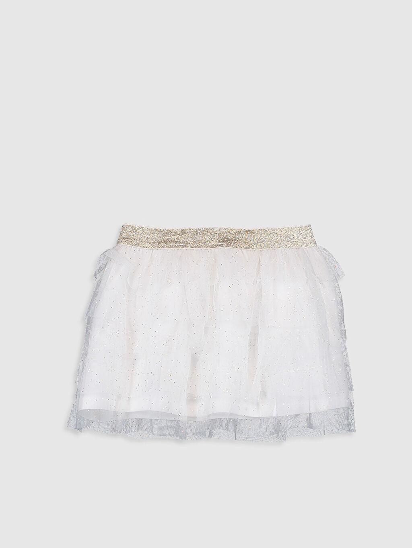 %100 Polyester %96 Pamuk %4 Elastan Yüksek Pamuk İçerir Standart Etek Düz Kız Çocuk Işıltılı Tül Etek