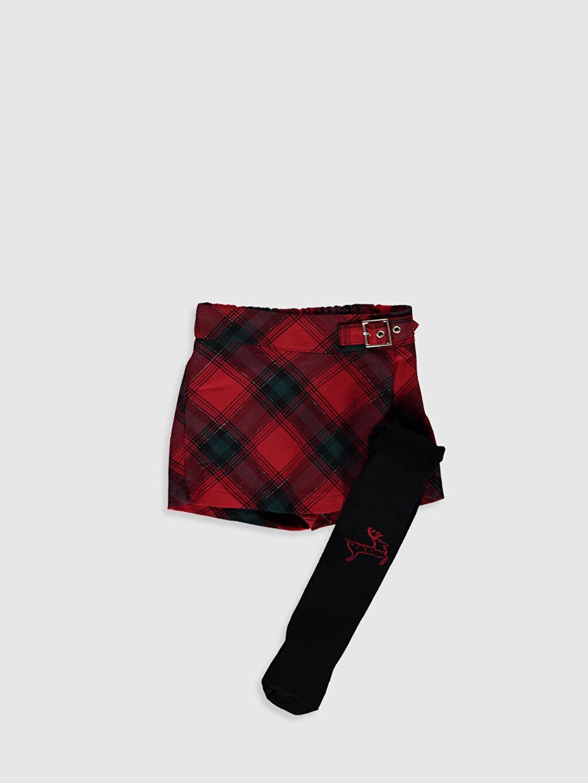 Kırmızı Kız Çocuk Ekose Etek ve Külotlu Çorap 9WO830Z4 LC Waikiki