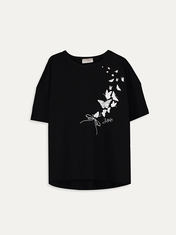 Siyah Kız Çocuk Kelebek Desenli Pamuklu Tişört 9WO903Z4 LC Waikiki