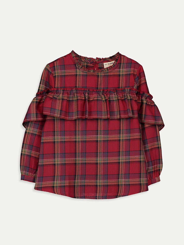 Kırmızı Kız Çocuk Fırfırlı Ekose Bluz 9WP134Z4 LC Waikiki