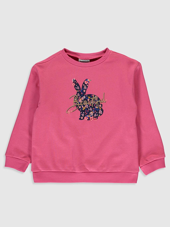 Pembe Kız Çocuk Baskılı Sweatshirt 9WP493Z4 LC Waikiki