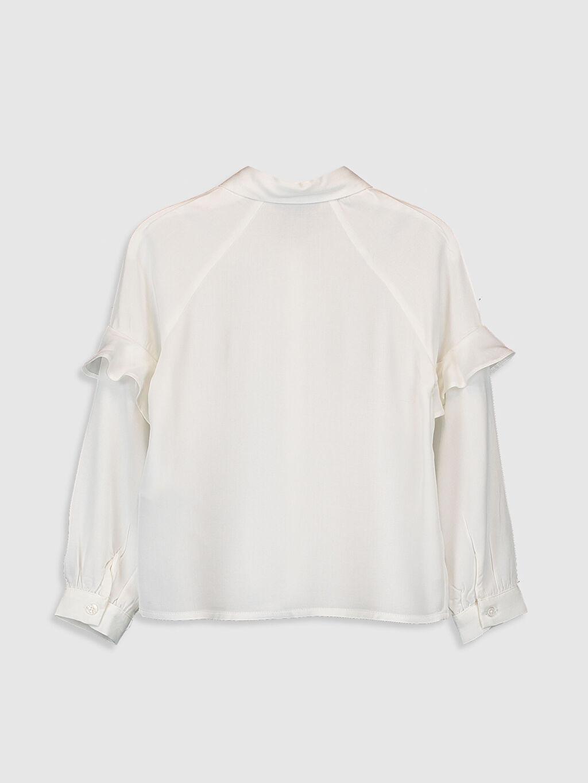%100 Viskoz Gabardin Gömlek Yaka Düz Aksesuarsız Gömlek Kız Çocuk Fırfırlı Viskon Gömlek