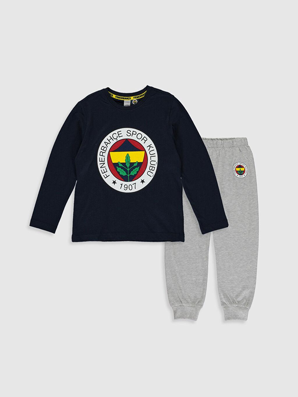 Lacivert Erkek Çocuk Fenerbahçe Amblemli Pamuklu Pijama Takımı 9WP820Z4 LC Waikiki