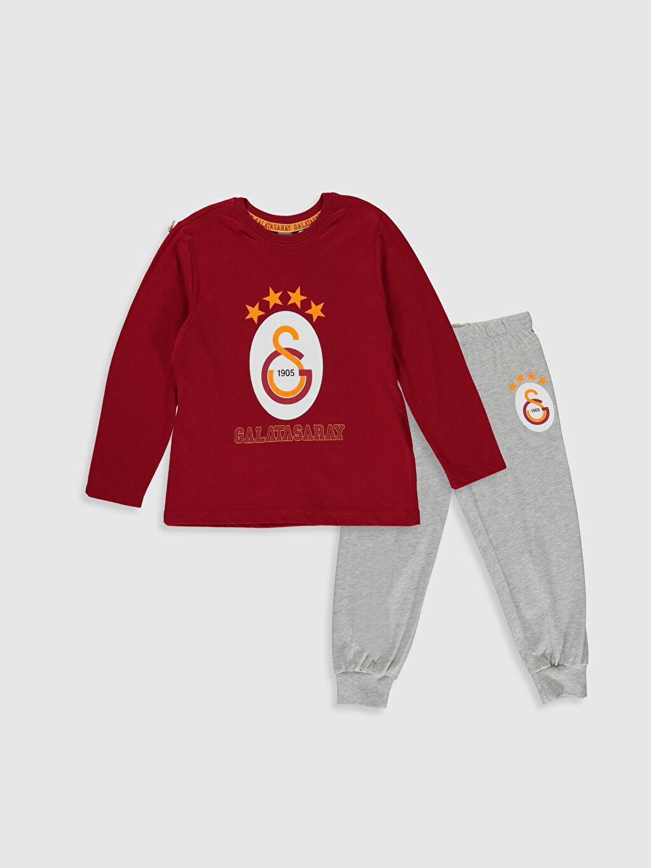 Kırmızı Erkek Çocuk Galatasaray Amblemli Pamuklu Pijama Takımı 9WP824Z4 LC Waikiki
