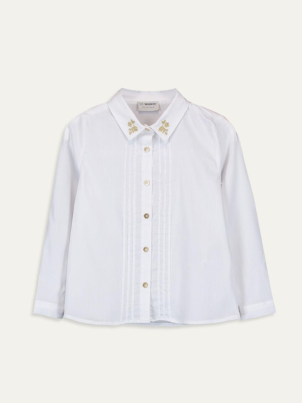 Beyaz Kız Çocuk Uzun Kollu Poplin Gömlek 9WQ144Z4 LC Waikiki