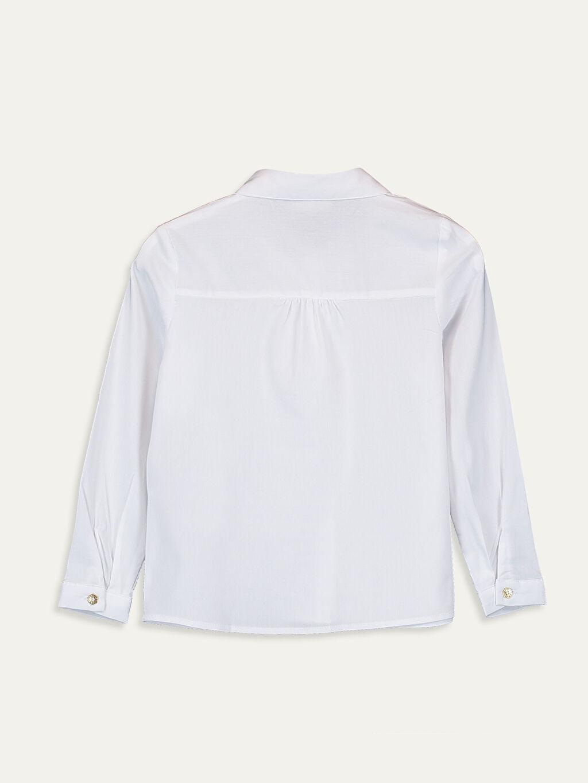 %64 Pamuk %31 Polyester %5 Elastan Düz Poplin Aksesuarsız Gömlek Gömlek Yaka Kız Çocuk Uzun Kollu Poplin Gömlek