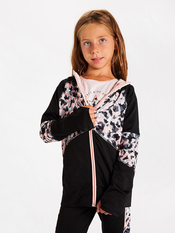 Siyah Kız Çocuk Fermuarlı Kapüşonlu Sweatshirt 9WQ322Z4 LC Waikiki