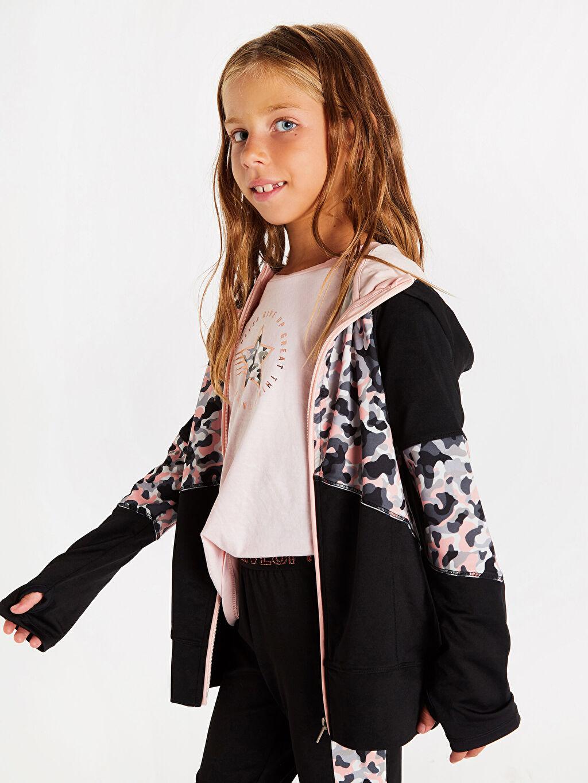 %91 Polyester %9 Elastan Kapüşonlu Düz Spor Hırka Penye Kız Çocuk Fermuarlı Kapüşonlu Sweatshirt