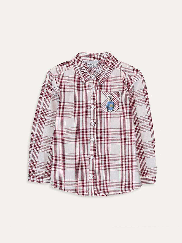 Bordo Kız Çocuk Pamuklu Ekose Gömlek 9WQ393Z4 LC Waikiki