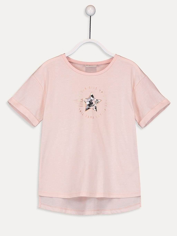 Pembe Kız Çocuk Baskılı Pamuklu Tişört 9WQ661Z4 LC Waikiki