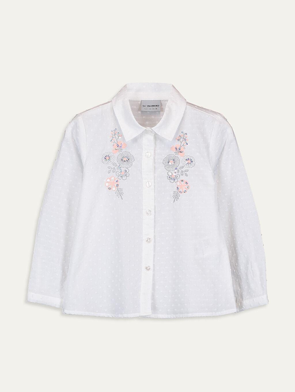 Ekru Kız Çocuk Nakışlı Pamuklu Gömlek 9WQ677Z4 LC Waikiki