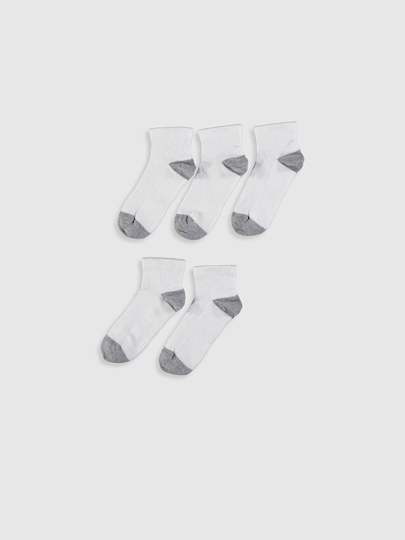 %77 Pamuk %21 Poliamid %2 Elastan Soket Çorap Dikişsiz Erkek Çocuk Patik Çorap 5'li