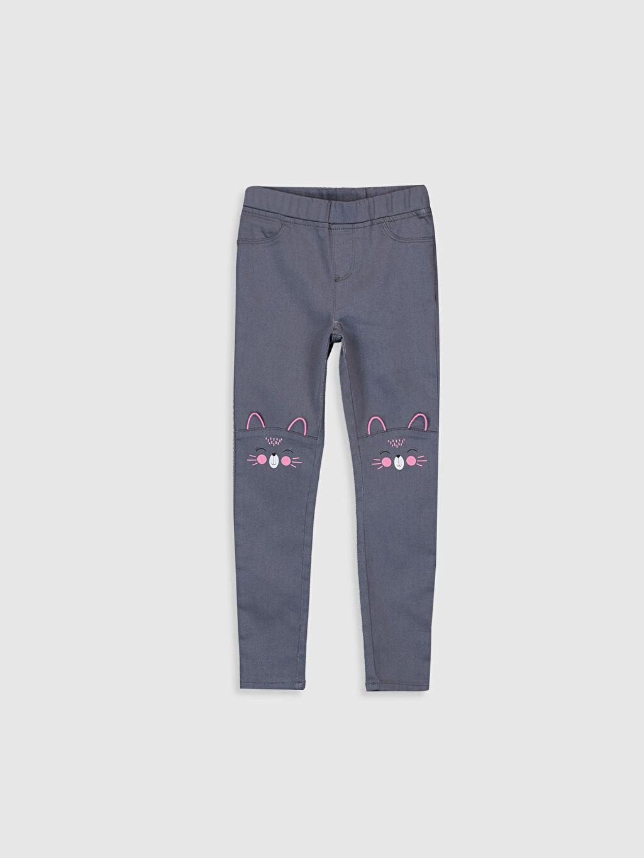 Gri Kız Çocuk Nakışlı Skinny Pantolon 9WR138Z4 LC Waikiki