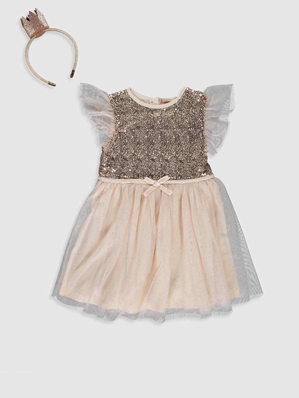 Bej Kız Çocuk Pul İşlemeli Tütü Elbise ve Taç 9WR463Z4 LC Waikiki