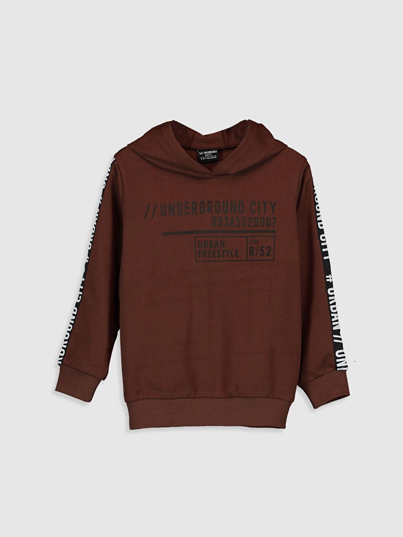 Kahverengi Erkek Çocuk Yazı Baskılı Kapüşonlu Sweatshirt 9WR531Z4 LC Waikiki